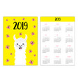 alpaca llama and butterfly simple pocket calendar vector image