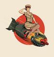 asian dragon bomb ww2 pin up girl vector image