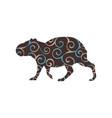 capybara rodent mammal color silhouette animal vector image vector image