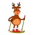 christmas polar deer with red nose goes skiing vector image vector image