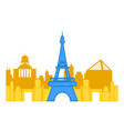 colored cityscape of paris with the eiffel tower vector image