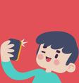 Cute Boy Taking a Selfie vector image vector image