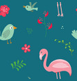 cute flamingo and tropical plants seamless vector image