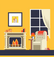 fireplace in room interior cozy house room flat vector image