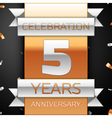 Five years anniversary celebration golden and vector image vector image