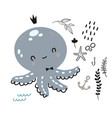 flat doodle octopus underwater life pattern vector image vector image