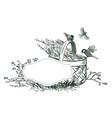 flower card frame engraved sketch drawn vector image