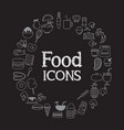 food icons set infographic and on black vector image vector image