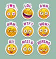 funny cartoon stickers with yellow emoji face and vector image vector image
