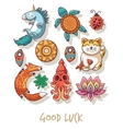 Good Luck Lucky amulets and happy symbols set vector image vector image