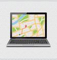 gps map on display of laptop isolated on vector image vector image