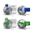 gray earth globes with designation european vector image