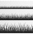 gray grass border set on transparent background vector image