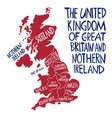 hand drawn stylized map united kingdom vector image vector image