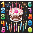 happy birthday cake numbers and firework vector image vector image