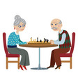 happy grandparents playing chess vector image vector image