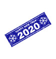 happy new year 2020 grunge rectangle stamp seal vector image vector image