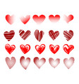 hearts emblem drawn in different styles set vector image vector image