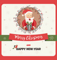 holiday card with funny santa claus and garland vector image
