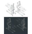 hydraulic hand stacker truck isometric blueprints vector image