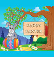 image with easter bunny and sign 7 vector image vector image