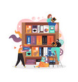 library concept for web banner website vector image
