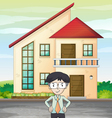 man infront of house vector image vector image