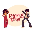 Man woman with afro hair in 1970s clothes dancing vector image vector image
