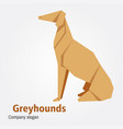 origami dog breed greyhound vector image