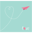 Origami pink paper plane Dash heart in the sky vector image