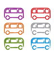 Set of hand-drawn colorful bus icons collection of vector image vector image