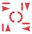 set of red arrows on white background vector image vector image