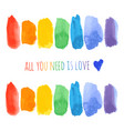 set raindow watercolor brush strokes vector image