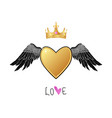 shiny gold heart with angel wings and crown vector image vector image