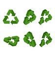 Sign Recycling isometrics Set green triangular vector image