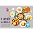 Sunday breakfast dishes of finnish cuisine icon vector image vector image