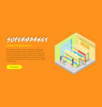 supermarket juices department isometric web banner vector image