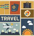 Travel icons set Retro Vintage design vector image vector image