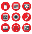 Website Icons Set over Red with Shadows vector image vector image