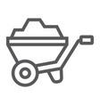 wheelbarrow line icon tool and cart vector image vector image