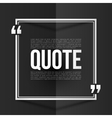 White quote frame with placeholder text at black vector image vector image