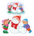 winter small children make snowmen vector image vector image