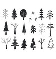 winter trees new year and christmas trees hand vector image vector image
