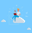 young man sitting on the cloud working vector image vector image