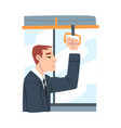 young man wearing business suit in public vector image vector image