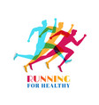 running marathon colorful set of silhouettes vector image