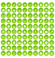 100 learning icons set green circle vector image vector image