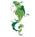 abstract hair style icon logo women face vector image