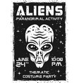 aliens black and white poster for costume party vector image vector image
