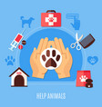 animal protection volunteering composition vector image vector image